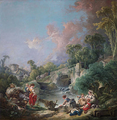 French Laundry Painting - Washerwomen by Francois Boucher