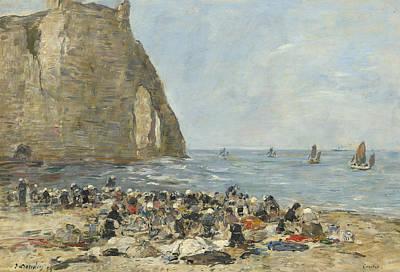 Washerwomen On The Beach Of Etretat Art Print