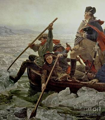Boats In Water Painting - Washington Crossing The Delaware River by Emanuel Gottlieb Leutze