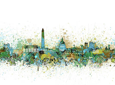 Abstract Skyline Royalty-Free and Rights-Managed Images - Washington Dc Skyline Color Splatter by Bekim Art