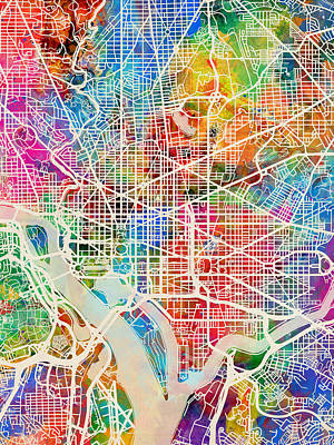 District Digital Art - Washington Dc Street Map by Michael Tompsett