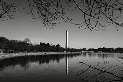 Photograph - Washington Memorial Framed By Cherry Trees In The Winter by Brandon Bourdages