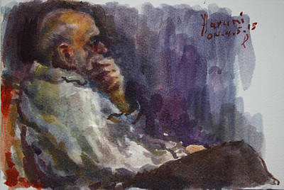 Old Man Painting - Man Watching Tv  by Ylli Haruni
