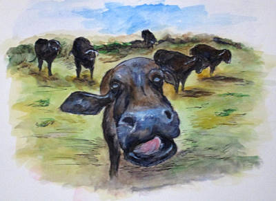 Painting - Water Buffalo Kiss by Clyde J Kell