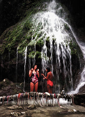 Photograph - Water Fall Bathing by Johnny Sandaire