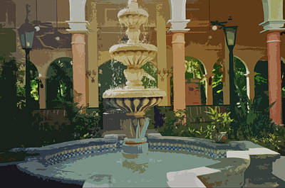 Art Print featuring the digital art Water Fountain In Mexico by Tammy Sutherland