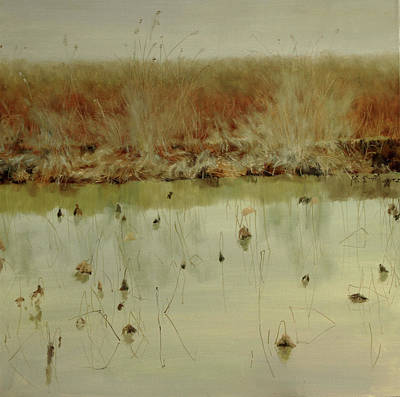 Outdoor Still Life Painting - Water Lilies-the Wheat Is Ripe, Enjoy The Silent Feast Of Nature by Dengke Zhang