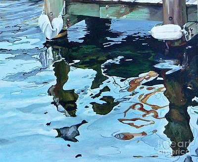 Blue Bouys Painting - Water Reflections 1 by Sandra Bellestri