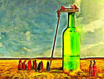 Fountain Painting - Water Source - Van Gogh Style by Leonardo Digenio