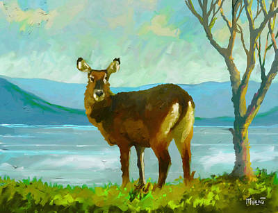 One Horned Painting - Waterbuck by Anthony Mwangi