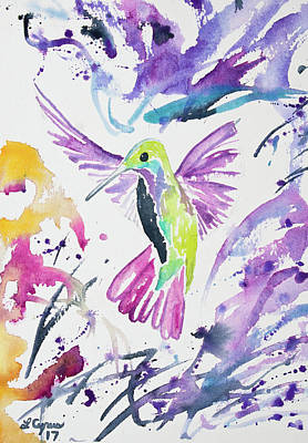 Painting - Watercolor - Hummingbird In Flight by Cascade Colors