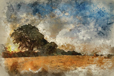 Watercolor Painting Of Rural Landscape Image Of Summer Sunset Ov Art Print by Matthew Gibson