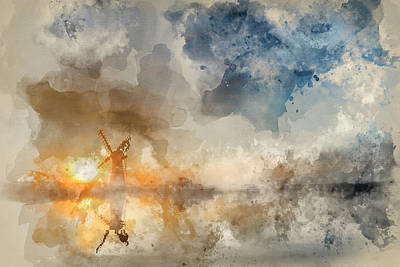 Architcture Photograph - Watercolor Painting Of Stunning Landscape Of Windmill And River  by Matthew Gibson