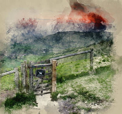 Gate Watercolor Photograph - Watercolor Painting Of Vibrant Sunrise Over Countryside Landscap by Matthew Gibson