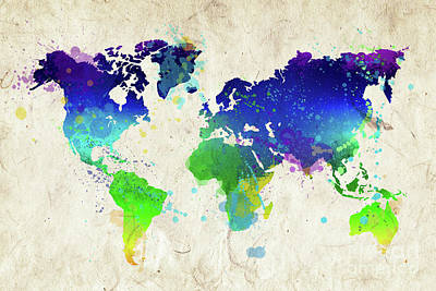 Creation Painting - Watercolor World Map by Delphimages Photo Creations