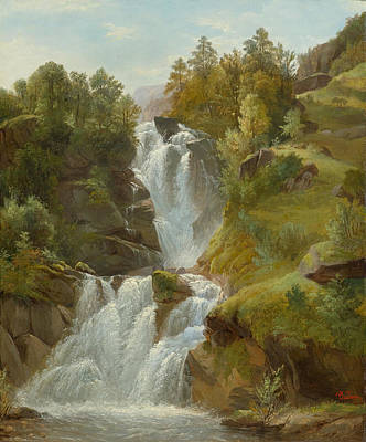 Painting - Waterfall by Francois Diday