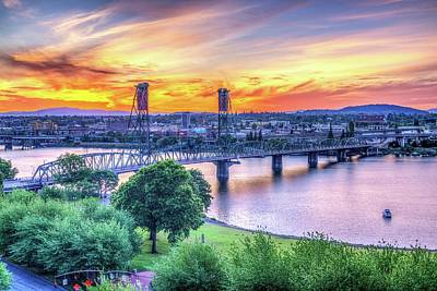 Waterfront Sunrise - Portland Oregon Art Print by Spencer McDonald