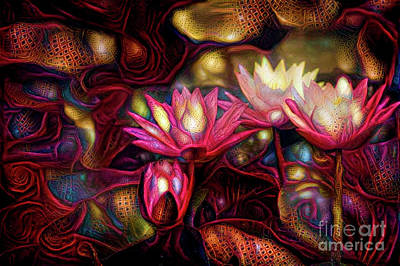 Lily Digital Art - Waterlilies 7 by Amy Cicconi