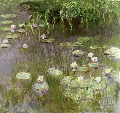 Floral Painting - Waterlilies At Midday by Claude Monet