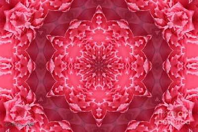 Digital Art - Watermelon Carnation Ruffles Mandala by J McCombie