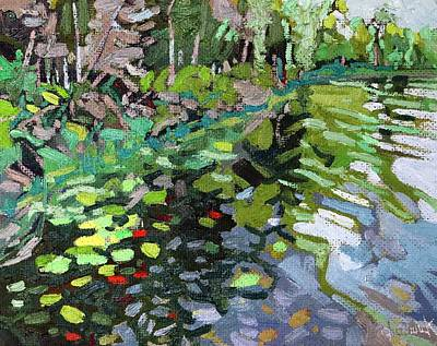 Swamp Oil Painting - Waters Edge by Phil Chadwick