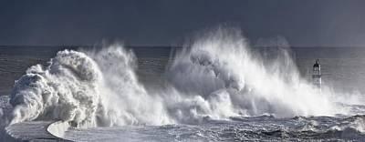 Photograph - Waves Crashing On Lighthouse, Seaham by John Short
