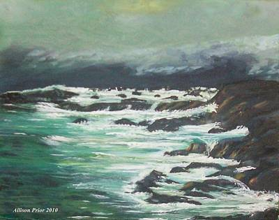 Waves In The Cove Art Print by Allison Prior