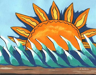 Contemporary Painting - Waves by Kathleen Sartoris