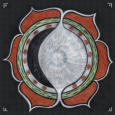 Visionary Art Drawing - Waxing Moon Mandala Of Regeneration by Kim Alderman