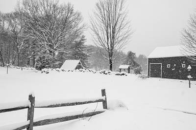 Wayside Inn Grist Mill Covered In Snow Storm Black And White Art Print