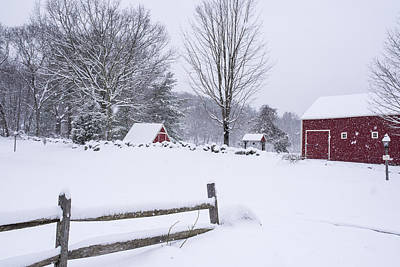 Wayside Inn Grist Mill Covered In Snow Storm Art Print