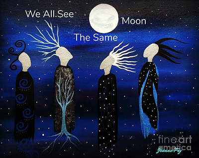 Painting - We All See The Same Moon by Jean Fry