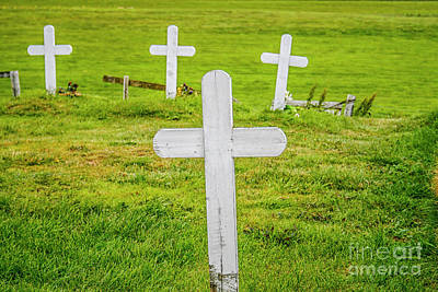 Photograph - Weathered White Wooden Crosses by Patricia Hofmeester