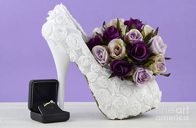 Floral Engagement Ring Photograph - Wedding Theme White Floral Bridal Shoes by Milleflore Images