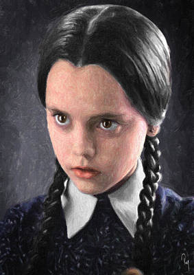 Character Portraits Painting - Wednesday Addams by Taylan Apukovska