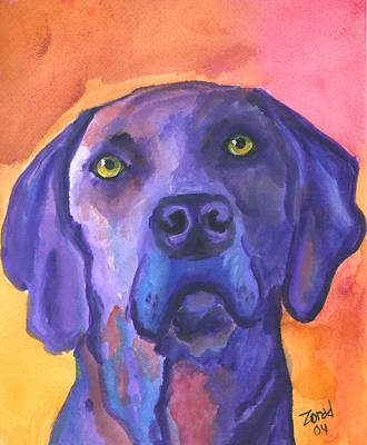 Painting - Weimaraner Dog Art by Mary Jo Zorad