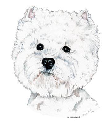 Akc Drawing - West Highland White Terrier, Westie by Kathleen Sepulveda