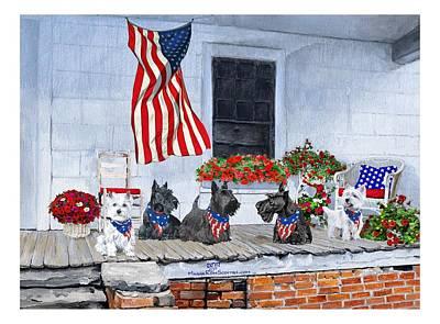 Terrier Digital Art - Westies And Scotties Await The Big Parade by Ann Kallal