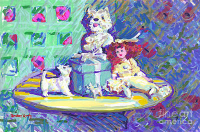 Painting - Westies, Tiffany And Candy by Candace Lovely
