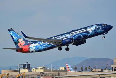 Westjet Boeing 737-8ct C-gwsz Magic Plane Phoenix Sky Harbor January 22 2016 Art Print by Brian Lockett