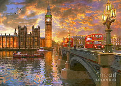 Nostalgic Digital Art - Westminster Sunset by Dominic Davison