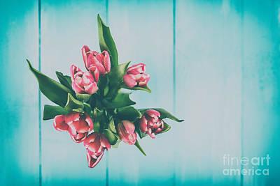 Wet Pink Tulip Flowers In Vase Art Print