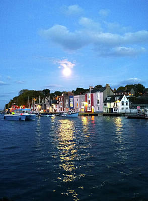 Photograph - Weymouth Harbour Full Moon by Anne Kotan