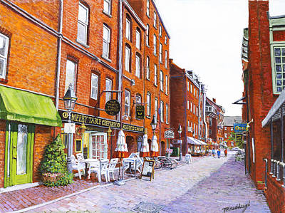 Wharf Street Portland Maine Art Print by Thomas Michael Meddaugh