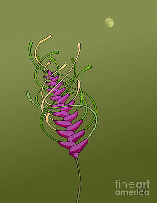 Digital Art - whEAT alien FUCsia I by The Mariabelones