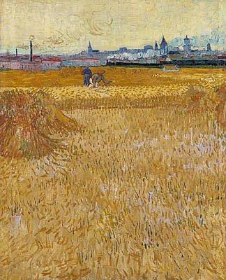 Farm Painting - Wheat Field With View Of Arles by Vincent van Gogh