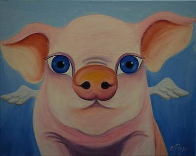 Flying Pig Painting - When Pigs Fly by Emily Page