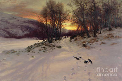 Snowfall Painting - When The West With Evening Glows by Joseph Farquharson