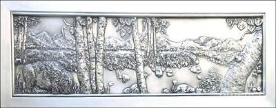 Hand Sculpted Tile Mixed Media - Where The Buffalo Roam by Lenna -Kay
