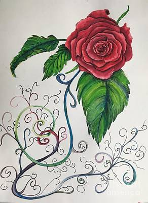 Whimsical Red Rose Art Print